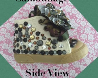Camouflage Sneakers*Camouflage Bling*Camouflage*Girls Camouflage*Baby Toddler High Tops *Army Baby*