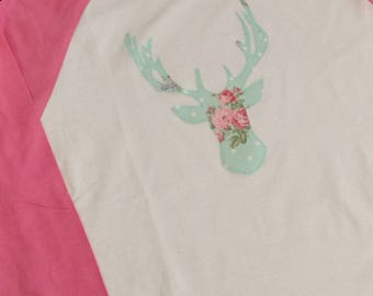 Deer Raglan// Deer Shirt// shabby chic shirt
