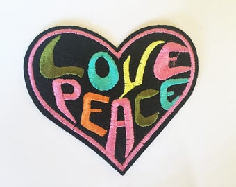 Cute Hippie Love Peace Heart Sew or IRON ON PATCHES Retro Child Kid Embroidered Bag Hat Clothing Patch