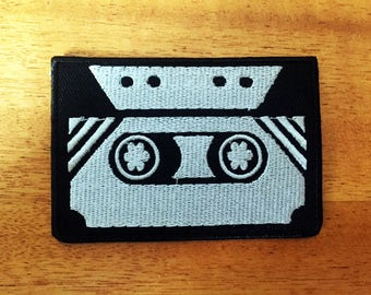 Retro 80s Cassette Tape Sew or IRON ON PATCHES Retro Music Hipster Child Kid Embroidered Bag Hat Clothing Patch Black Silver