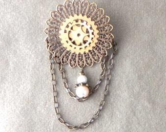 Steampunk Brooch, steampunk pin, gear jewelry, antiqued brass filigree and brass gears brooch in steampunk style, pearl dangle