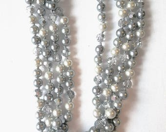 Multistrand Pearl Necklace,Wedding Pearl & Crystal Necklace, Bridesmaid Crystal Necklace, Statement Necklace, Chunky Bridal Necklace, Pearls