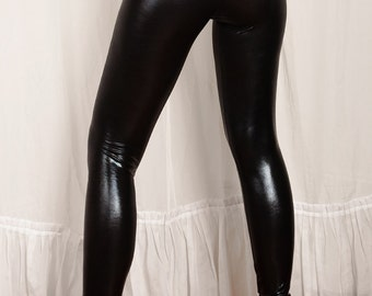 Wet Look Black Leggings, Spandex shiny leggings. Metallic black sexy leggings. Vegan Leather Leggings. Latex Look.