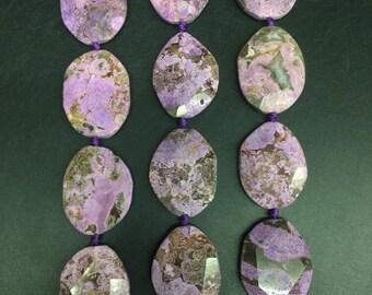Approx 9pcs Natural Ocean Jasper Freeform Faceted slice,Purple Ocean Jasper egg shape slab nuggets pendants necklaces Jewelry 30-32x40-42mm