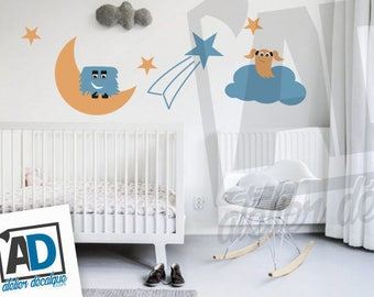Wall Sticker R-021 - Choice of (3) decorative monster with (3) object of the sky for boy