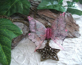 Pink fairy with wings necklace star