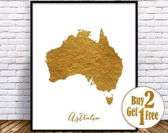 Australia Print Art Home Decor Map Wall Prints