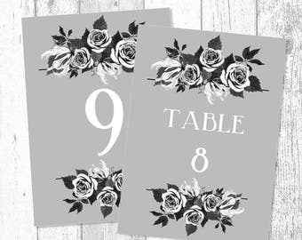 French Grey Bouquet Printed and Printable Table Numbers, Table Name Cards - Personalised Wedding Table Decoration - Event Table Number
