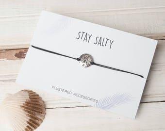 Stay Salty, Sand Dollar Choker, Beach Choker,  Sanddollar Necklace, Choker, String Choker, Sand Dollar Necklace, Choker, Adjustable Choker,