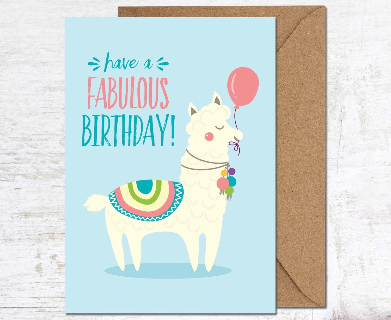 Llama Card Llama Birthday Card Alpaca Birthday Card