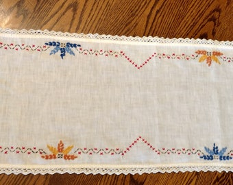 """On Sale Mid-Century Handmade Dresser Scarf - Floral Motif   Approximately 38 1/2"""" Long  x 10 1/2"""" Wide"""