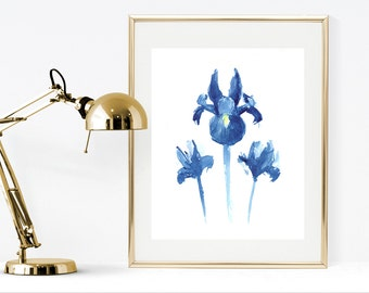Iris watercolor painting instant download print, printable floral wall art , flowers watercolor painting, blue flowers home decor