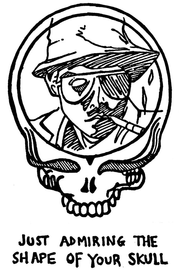 grateful dead hunter s thompson tee shirt just admiring the shape of your skull limited stealie silkscreen art fear and loathing - Grateful Dead Coloring Book