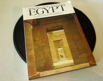 Coffee Table Book - Hard Cover Egypt - Egyptian Art History Monuments - Old Book - Book for Decor Vintage