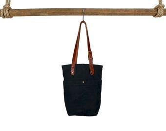 Market Tote - Black, Waxed Canvas Bag, market bag, tote bag, purse, luggage, shoulder bag, handbag