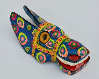 MSK16 - Blue Donkey Mask Hand-Carved Hand-Painted from Guatemala