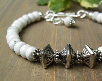 White Turquoise Bracelet, Bali Sterling Silver and Howlite Stone Bracelet, Southwest Style, Adjustable, Layering, Modern Geometric, Gift