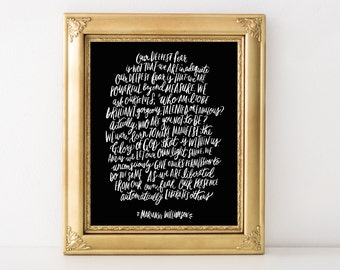 Our deepest fear is that we are powerful beyond measure hand lettered inspirational quote