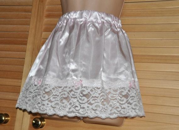 Beautiful silky soft mini slip, waist / half slip, lacy feminine hem, gentle pink, lovely lingerie for lacy peeks, Sissy Lingerie