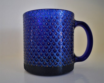 Hand Painted Glass Coffee Mug. Tea Cup.  Cobalt Blue Glass. Perfect Gift.