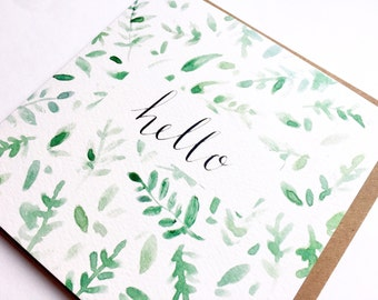 Hello greeting card, typography, watercolour