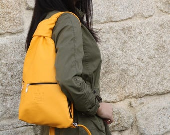 Leather Backpack YELLOW