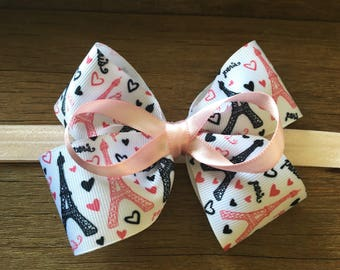 Infant/toddler headband - pink and black paris theme