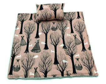 Pink/rose/black/white dresses/ghosts/trees blanket and pillow for reptile/beardie/bearded dragon/small pet/animal