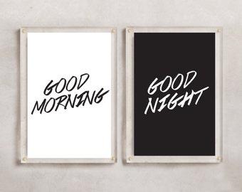 INSTANT DOWNLOAD Wall Art 24x36 8x10 11x14 Pdf - Good Morning Good Night - Bedroom Decor, Master Bedroom, Inspirational Decor