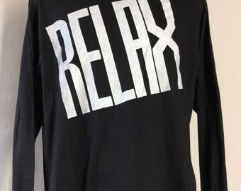 Vtg 80s Relax Long Sleeve T-Shirt Black L Frankie Goes To Hollywood