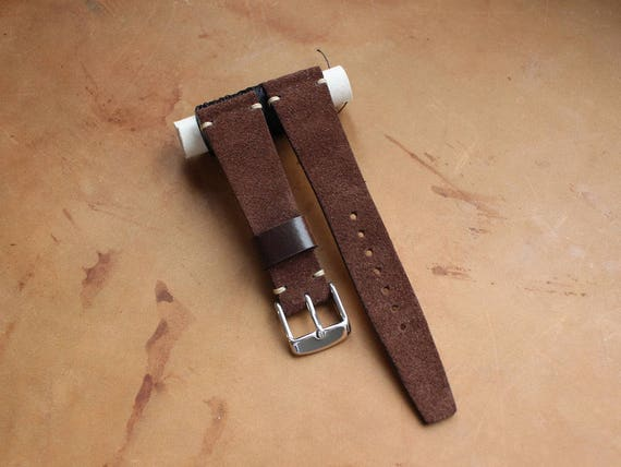 Vintage Style Brown Suede leather watch band with simple stitching