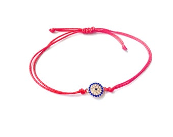 Good luck red bracelet, protection bracelet, red string bracelet, lucky eye red string, kabbalah bracelet, spiritual bracelet, red evil eye