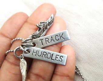 RUN TRACK HURDLES, she believed she could, running jewelry, running necklace, marathon necklace, marathon jewelry, xc, running