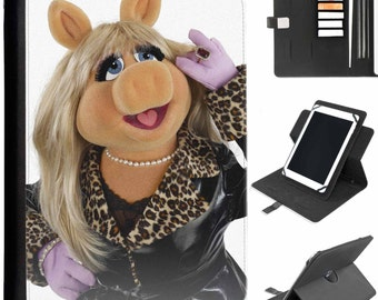 U-MUP03-MISSPIGGY Miss Piggy Muppet Tab Samsung Universal Tablet Protective Pu Leather Flip Wallet 360 Swivel Case