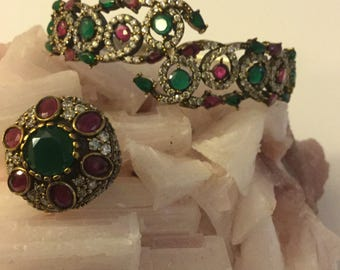 Vintage Silver 925 Green Emerald Pink Rubies Large Thick  Statement Bracelet and Ring Set