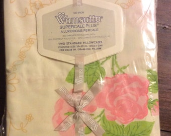 Wamsutta two standard pillowcases new in pack pink yellow roses no iron