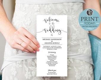 Calligraphy WEDDING PROGRAM, Instant Download, Script Wedding Program, Black White Wedding Program, Modern Wedding Program, Edit yourself