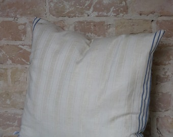 pillow from antique linen: blue stripes 45*45cm