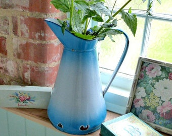 Blue french enamel water pitcher, water jug, vintage enamel ewer, french brocante, shabby chic enamel jug, blue white enamel, country chic