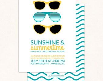 Sunglasses Birthday Invitation / Sunshine & Summertime Invite / Summer Birthday Invitations / Digital / Pool Party Invitation