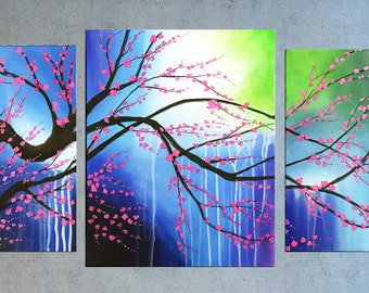 Pink Cherry Blossom painting, Contemporary Landscape painting, Acrylic Flower painting, Abstract Palette knife Floral art, Modern wall art.