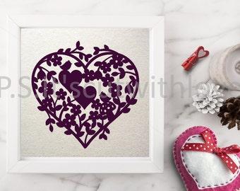 Wedding/Anniversary heart papercut design - SVG - PNG - DXF - Valentine