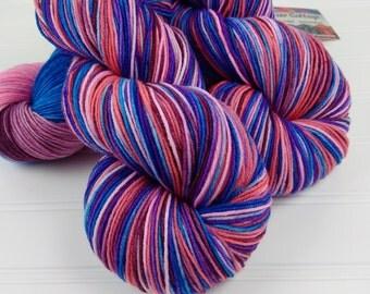 Merino 8 ply Squishy Sock Yarn, Hand Dyed, Merino, Nylon SW, 430 yards