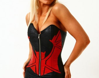 """XS S M steel boned lambskin leather Bat corset 22"""" Gothic Punk wiccan pagan witch cosplay batgirl"""
