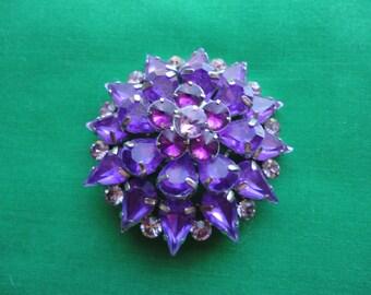 1950's Purple Rhinestone Brooch