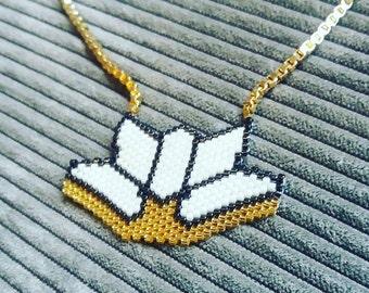 Gold Filled necklace with Miyuki lotus
