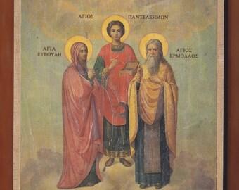Saint Panteleimon, Euvoule, Ermolaos.Christian orthodox icon. FREE SHIPPING