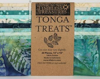 "Timeless Treasures ""Surf"" Tonga Treat -20-10 inch squares - blue batik, green batik, beige batik, Island Stack, layer cake, # SHORT-SURF"