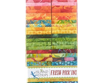 "Island Batik ""Fresh Pick'ins"" Strip Set  40 - 2.5 inch strips - jelly roll- Island Strips-yellow and orange  batik fabric, pink batik fabric"