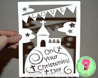 Christening Paper Cut svg / dxf / eps / files and pdf / png printable templates for hand cutting. Digital download. Commercial use ok